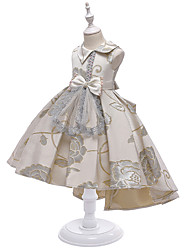 cheap -Kids Little Girls' Dress Jacquard Party Birthday Party Train Bow Blushing Pink Wine Gray Asymmetrical Sleeveless Princess Cute Dresses Children's Day All Seasons Slim 3-10 Years
