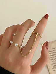 cheap -Adjustable Ring Classic Gold Imitation Pearl Alloy Stylish Simple European 1 set Adjustable / Women's