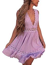 cheap -womens v-neck spaghetti strap bowknot backless sleeveless lace mini swing skater dress (#1, s)