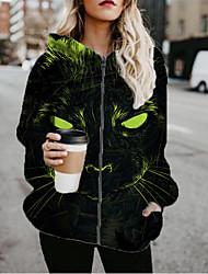 cheap -Women's Jackets Cat Print Casual Fall Jacket Regular Daily Long Sleeve Air Layer Fabric Coat Tops Black