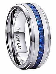 cheap -8mm titanium rings for men women eternity wedding engagement bands blue princess cubic zirconia inlay beveled edges matte finish comfort fit
