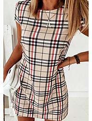 cheap -Women's A Line Dress Knee Length Dress Blue Red Beige Gray Light Blue Short Sleeve Striped Print Print Fall Summer Round Neck Casual 2021 S M L XL XXL