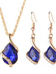 cheap -two-piece jewelry set  drop-shaped necklace and earrings fashion crystal jewelry set
