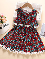 cheap -Kids Little Girls' Dress Graphic Print Red Knee-length Sleeveless Active Dresses Summer Regular Fit 2-6 Years