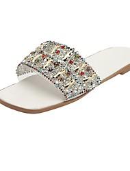 cheap -Women's Flats Flat Heel Open Toe Rubber White Black