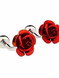 cheap -mrcuff rose flower red pair of cufflinks in a presentation gift box