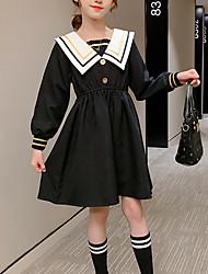 cheap -Kids Little Girls' Dress Striped School Black Knee-length Long Sleeve Cute Dresses Summer Regular Fit 3-13 Years