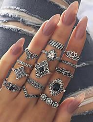 cheap -15-piece set ring retro hollow lotus  black gem joint set ring