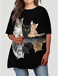 cheap -Women's Plus Size Dress T Shirt Dress Tee Dress Short Mini Dress Half Sleeve Cat Graphic Animal Print Basic Fall Spring Summer Black XL XXL 3XL 4XL 5XL