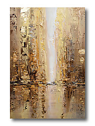 cheap -Stretched Oil Painting Hand Painted Canvas Abstract Comtemporary Modern High Quality Brown Golden Ready to Hang