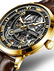 cheap -men skeleton watches brown leather black dial mechanical automatic watch swiss brand classic dress watch for male expensive luxury wrist watch