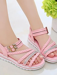cheap -Girls' Sandals Flat Flower Girl Shoes Princess Shoes Rubber Leather Little Kids(4-7ys) Big Kids(7years +) Daily Party & Evening Walking Shoes Rhinestone Buckle Braided Strap Blue Pink Beige Spring