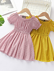 cheap -Kids Little Girls' Dress Solid Colored A Line Dress Ruched Yellow Blushing Pink Above Knee Short Sleeve Regular Dresses Children's Day Summer Regular Fit 2-8 Years