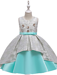 cheap -Kids Little Girls' Dress Jacquard Party Birthday Party Bow Red Blushing Pink Green Above Knee Sleeveless Streetwear Cute Dresses Children's Day All Seasons Slim 3-10 Years