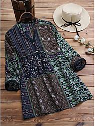 cheap -Women's Plus Size Tops Blouse Shirt Graphic Tribal Button Long Sleeve V Neck Spring Summer Navy Sky Blue Red Big Size M L XL 2XL 3XL