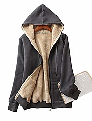 cheap -moonetto women's casual winter thick warm fleece sherpa lined hoodie zip up jacket coat sweatshirt (dark grey, l)