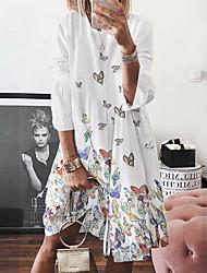 cheap -Women's Swing Dress Knee Length Dress Blue Yellow Blushing Pink White Long Sleeve Animal Print Spring Summer Boho Loose 2021 S M L XL XXL 3XL 4XL 5XL