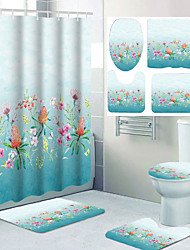 cheap -Flower Ocean Theme Bathroom Waterproof Shower Curtain and Hook Cushion Four-piece Casual Decoration