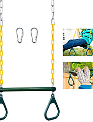 cheap -Trapeze Swing Bar Rings - 17'' Trapeze Bar for Swing Set - Gym Rings Swing Set - Heavy Duty Chain Swing Set Accessories with Locking Carabiners - Swing Chains 47'' Long