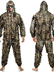 cheap -Men's Ghillie Hunting Suit Hunting Jacket with Pants Outdoor Waterproof Ventilation Wearproof Comfortable Fall Spring Camo / Camouflage Polyester Camouflage / 2pcs