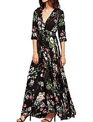 cheap -Women's Swing Dress Maxi long Dress Black Long Sleeve Flower Fall Casual / Daily 2021 S M L XL / Cotton / Cotton