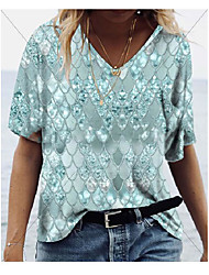 cheap -Women's Plus Size Mermaid T shirt Large Size V Neck Short Sleeve Fashion Tops 3XL 4XL 5XL Blue Purple Blushing Pink Big Size