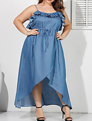cheap -Women's Plus Size Plain Drawstring Maxi long Dress Denim Dress Light Blue Big Size 3XL