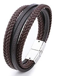 cheap -multi-layer leather rope hand-woven retro magnetic buckle jewelry bracelet men's bracelet
