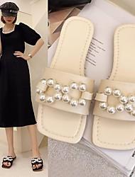 cheap -Women's Flats Flat Heel Square Toe PU Solid Colored White Black Beige