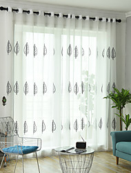 cheap -Two Panel Pastoral Style Leaf Embroidered Window Screen Living Room Bedroom Dining Room Children's Room Translucent Tulle