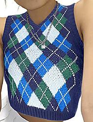 cheap -sweater vest argyle plaid crop sweaters for girls women 09s e-girls sleeveless preppy style tank tops blue medium