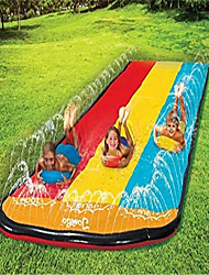 cheap -Triple Lane Slip, Splash and Slide for Backyards | Water Splash Slide Waterslide | 16 Foot Three Sliding Racing Lanes with Sprinklers | Durable Quality PVC Construction(without Boogie Boards)