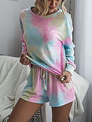 cheap -Women's 2 Piece Tracksuit Jogging Suit Athleisure 2pcs Long Sleeve Lightweight Breathable Soft Fitness Running Jogging Track and Field Exercise Sportswear Tie Dye Normal Plus Size Rose Pink / Blue