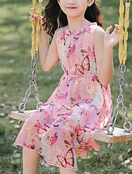 cheap -Kids Little Girls' Dress Graphic Holiday Print Purple Blushing Pink Midi Sleeveless Sweet Dresses Summer Regular Fit 3-13 Years