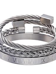 cheap -bracelet  jewelry retro wild roman alphabet woven square stainless steel bracelet bracelet set for men