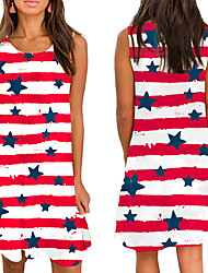 cheap -amazon europe and the united states new cross-border women's independent japanese round neck sleeveless flag printing loose casual women's dress