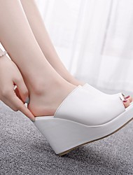 cheap -Women's Heels Heeled Mules Pumps PU Solid Colored Black and white color matching clear inventory price White Black