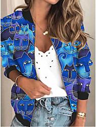 cheap -Women's Jackets Cat Print Sporty Fall Jacket Regular Daily Long Sleeve Air Layer Fabric Coat Tops Blue