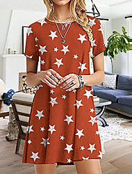 cheap -2021 cross-border new summer short-sleeved star dress fashion print slim slim round neck short-sleeved dress