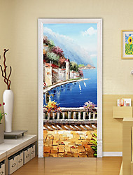 """cheap -Oil Painting Style 2pcs Self-adhesive Creative Seaside White Castle Door Stickers For Living Room Diy Decoration Home Waterproof Wall Stickers 30.3""""x78.7""""(77x200cm), 2 PCS Set"""