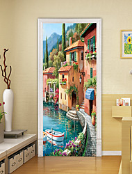 cheap -2pcs Self-adhesive Creative Door Stickers Oil Painting Style Lakeside Scenery Living Room Diy Decoration Home Waterproof Wall Stickers