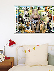 cheap -3D Fake Window New Wall Paste Tiger Animal World Home Corridor Background Decoration Can Be Removed Stickers