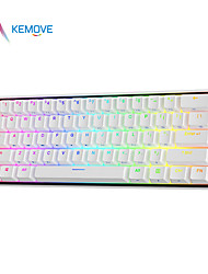 cheap -kemove dk61 snowfox mechanical keyboard bluetooth pbt hot-swappable gateron switch detachable cable rgb wireless gaming keyboard