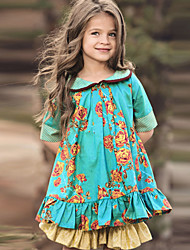 cheap -Kids Little Girls' Dress Floral Green Knee-length Half Sleeve Cute Dresses Regular Fit
