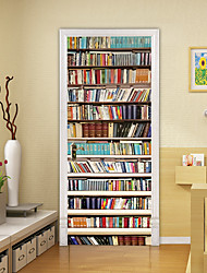 """cheap -2pcs Self-adhesive Creative Bookcase Door Stickers For Living Room Diy Decorative Home Waterproof Wall Stickers 30.3""""x78.7""""(77x200cm), 2 PCS Set"""