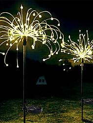 cheap -LED Solar Firework Lights Outdoor Solar Lights 2pcs Set Outdoor Waterproof Fairy Garland 90 120 150 LEDs Light String Garden Lawn Street Landscape Christmas Decoration