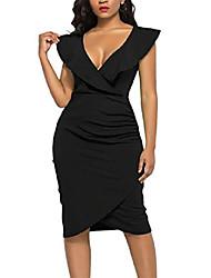 cheap -wiwiqs v-neck sexy ruffle bodycon plus size party cocktail club midi dress for women black s