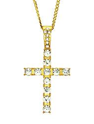 cheap -Women's Men's Cross Pendant Necklace Charm Necklace Retro Cross Precious Fashion Classic Zircon Gold Plated Alloy Gold Silver 60 cm Necklace Jewelry 1pc