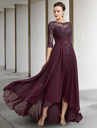 cheap -A-Line Mother of the Bride Dress Elegant Jewel Neck Asymmetrical Floor Length Chiffon Lace Half Sleeve with Pleats Appliques 2021