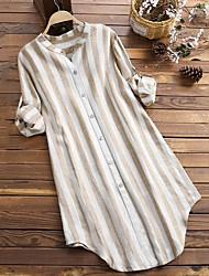 cheap -Women's Plus Size Tops Shirt Stripes Large Size Shirt Collar Big Size XL 2XL 3XL 4XL 5XL